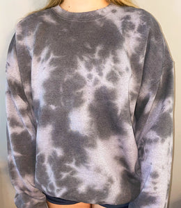 Black Gray Tie Dye Sweatshirt