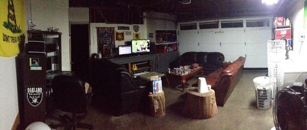 Man cave with vintage vintage baseball card table.