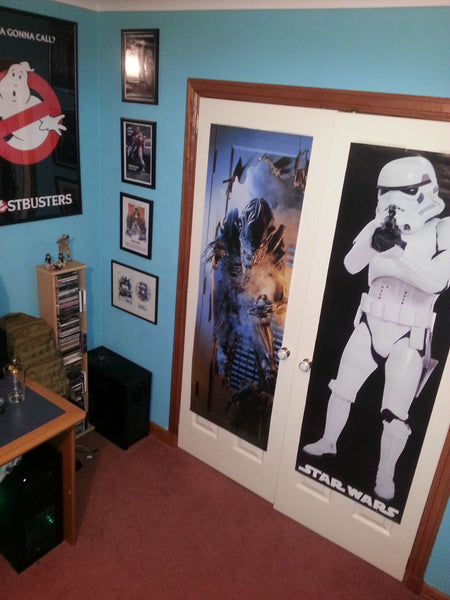 View of the side and closet area of the battle-station man cave.
