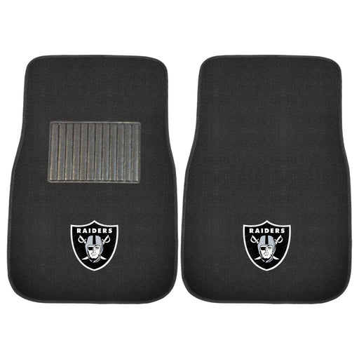 Oakland Raiders 2-pc Embroidered Car Mat Set | Man Cave Authority | 10345