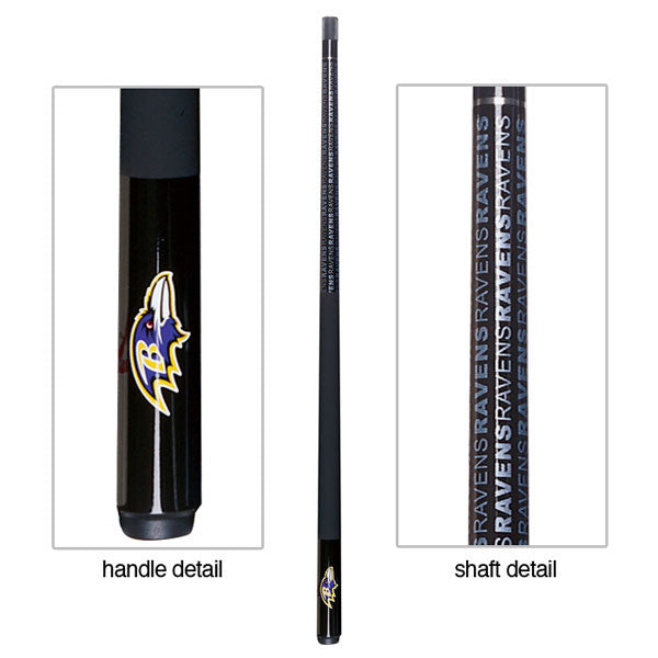 Baltimore Ravens Billiard Cue Stick Close-up View