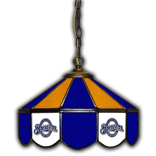 Milwaukee Brewers Stained Glass Pub Lamp | Man Cave Authority | IMP 233-2027
