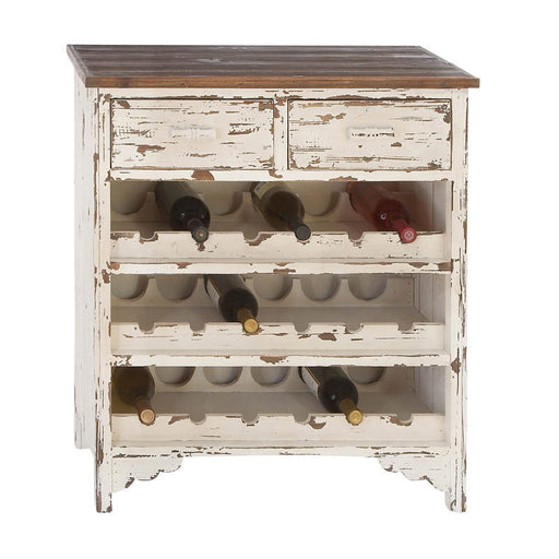 Distressed Ivory Wooden Wine Cabinet | Man Cave Authority | 35019