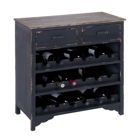 Distressed Dark Wooden Wine Cabinet with Drawers