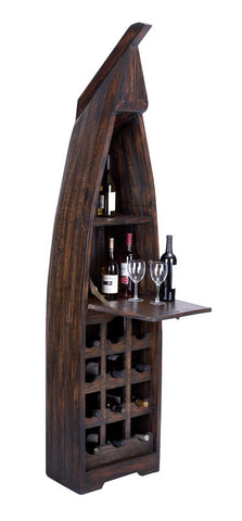 Wooden Boat Wine Cabinet with Extendable Table
