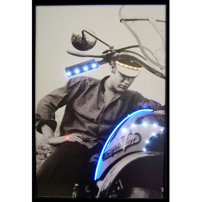 Elvis on Motorcycle Neon/LED Picture | Man Cave Authority | 3ELVIS