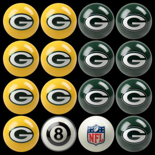 Green Bay Packers Home Vs. Away Billiard Ball Set | Man Cave Authority | IMP 50-1101