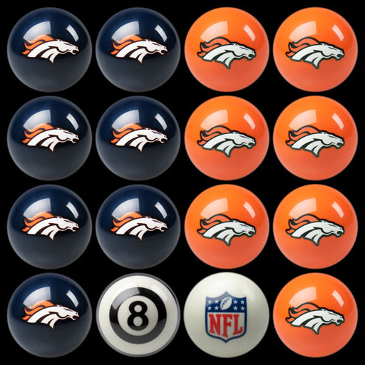 Denver Broncos Home Vs. Away Billiard Ball Set | Man Cave Authority | IMP 50-1103