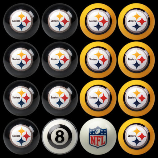 Pittsburgh Steelers Home Vs. Away Billiard Ball Set | Man Cave Authority | IMP 50-1104