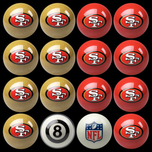 San Francisco 49ers Home Vs. Away Billiard Ball Set | Man Cave Authority | IMP 50-1105