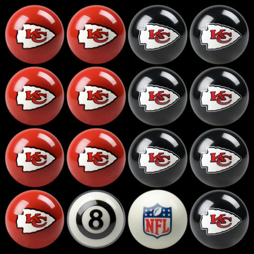 Kansas City Chiefs Home Vs. Away Billiard Ball Set | Man Cave Authority | IMP 50-1106
