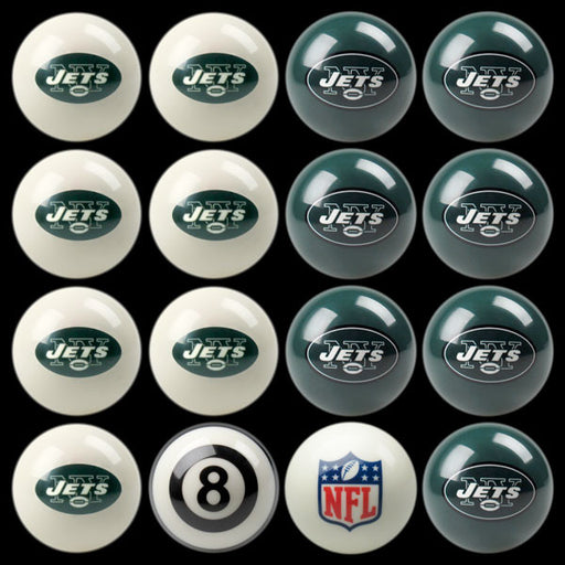 New York Jets Home Vs. Away Billiard Ball Set | Man Cave Authority | IMP 50-1112