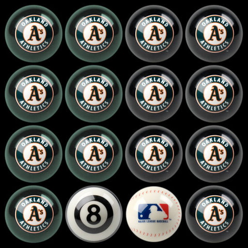Oakland Athletics Home Vs. Away Billiard Ball Set | Man Cave Authority | IMP 50-2118