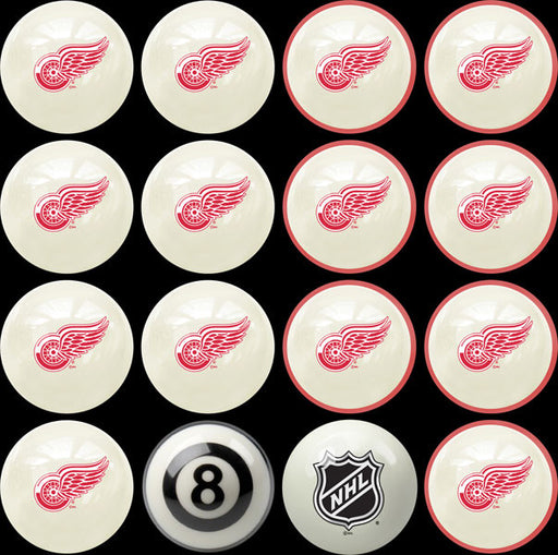 Detroit Red Wings Home Vs. Away Billiard Ball Set | Man Cave Authority | IMP 50-4105