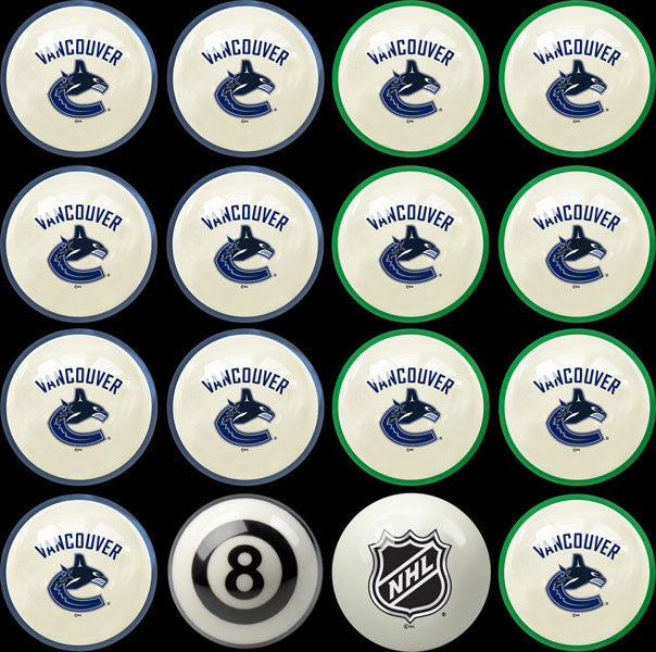 Vancouver Canucks Home Vs. Away Billiard Ball Set | Man Cave Authority | IMP 50-4108