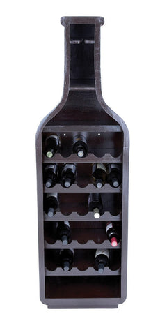 Unique Wine Bottle Shaped Holder with Storage Shelves