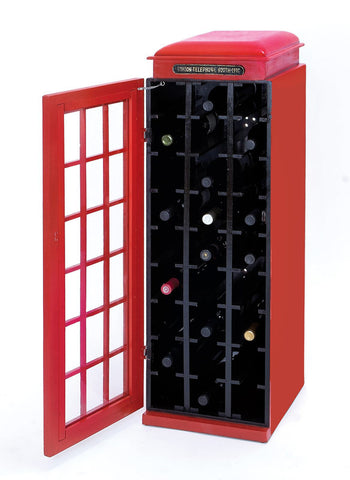 Classic Phone Booth Wine Cabinet with Dark Red Finish