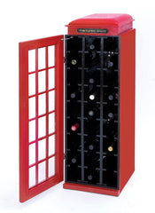 Classic Phone Booth Wine Cabinet with Dark Red Finish | Man Cave Authority | 50118