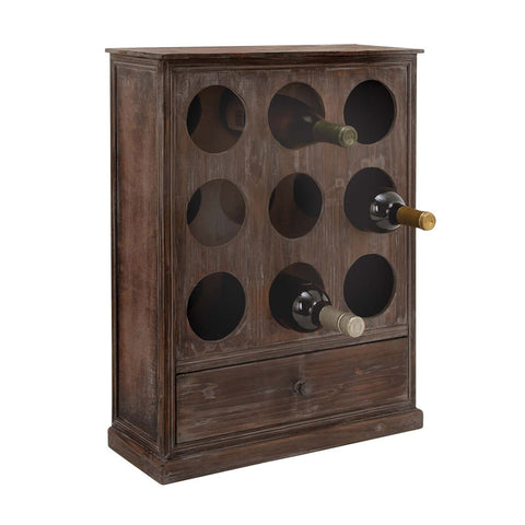 Solid Design Wood Wine Rack with Utility Drawer
