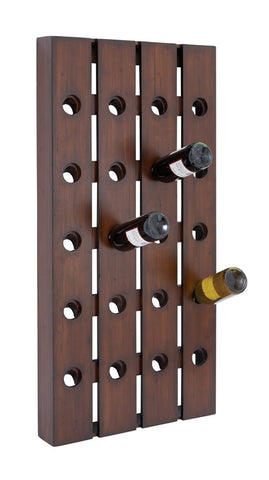 Premium Dark Wood Wall Mounted Wine Display