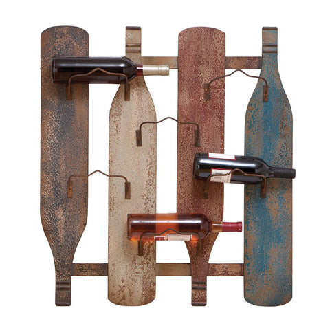Charming Wood and Metal Wall Mounted Wine Display