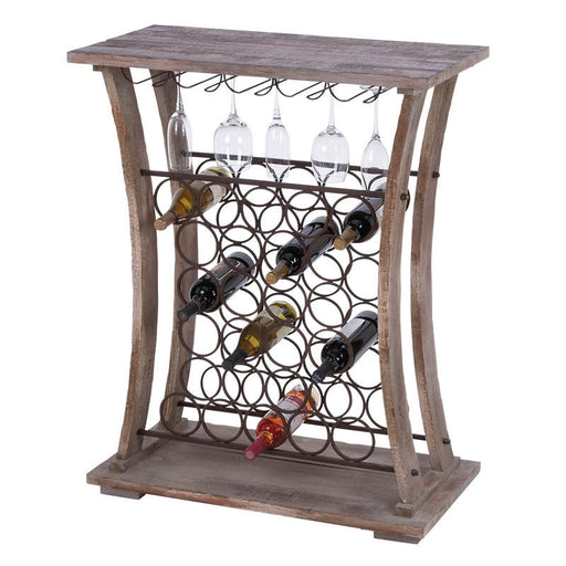 Earthy Wood and Metal Wine Bar with Wine Glass Holders | Man Cave Authority | 51856