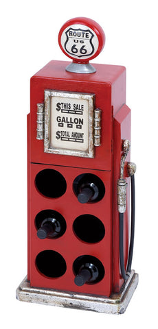 Classic Route 66 Gas Pump Wine Rack for Six Bottles