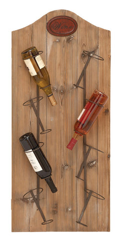 Wall Mounted Vineyard Style Wine Rack Made with Reclaimed Wood
