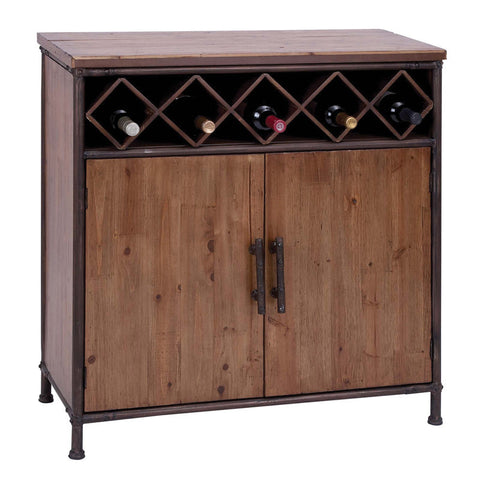 Aged Wood Wine Cabinet and Storage for Five Bottles