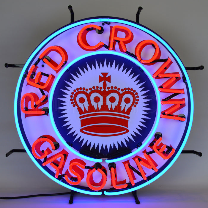 Red Crown Gasoline Neon Sign with Backing | Man Cave Authority | 5CROWN