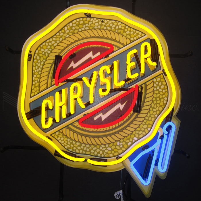 Chrysler Badge Neon Sign with Backing | Man Cave Authority | 5CRYBK