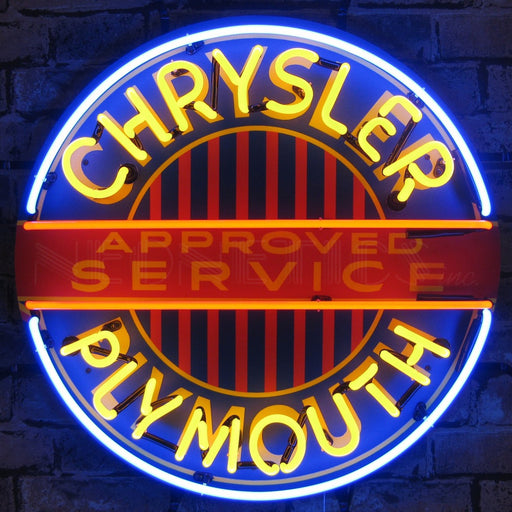 Chrysler Plymouth Neon Sign with Backing | Man Cave Authority | 5CRYPL