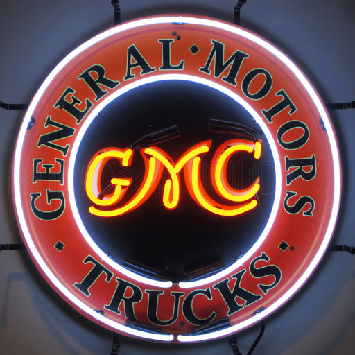 GMC Trucks Neon Sign with Backing | Man Cave Authority | 5GMCBK