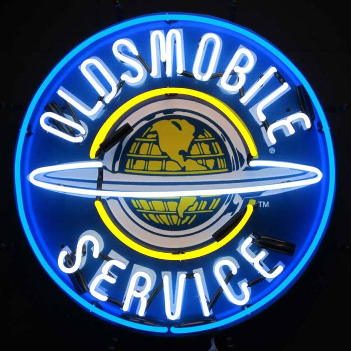 Oldsmobile Service Neon Sign with Silkscreen Backing | Man Cave Authority | 5OLDBK