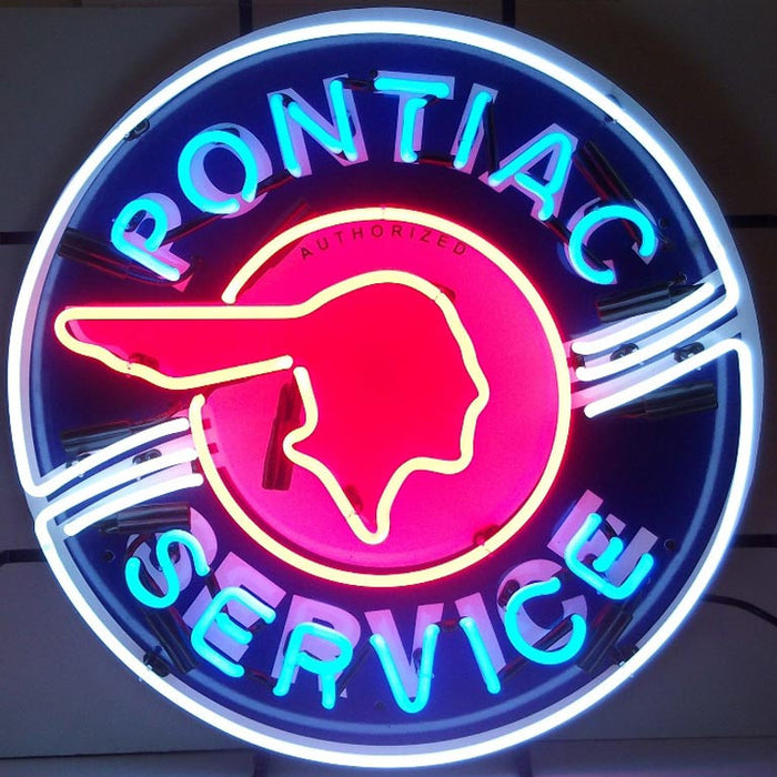 Pontiac Service Neon Sign with Silkscreen Backing | Man Cave Authority | 5PONBK