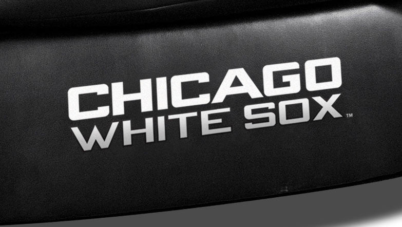 Close Up of Embroidered Logotype | Chicago White Sox Classic Black Leather Sofa