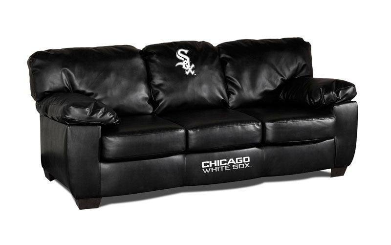 Chicago White Sox Classic Black Leather Sofa | Man Cave Authority | IMP 65-2006