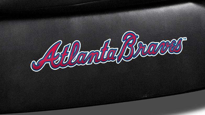 Close Up of Embroidered Logotype | Atlanta Braves Classic Black Leather Sofa