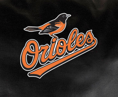 Close Up of Embroidered Logo | Baltimore Orioles Classic Black Leather Sofa