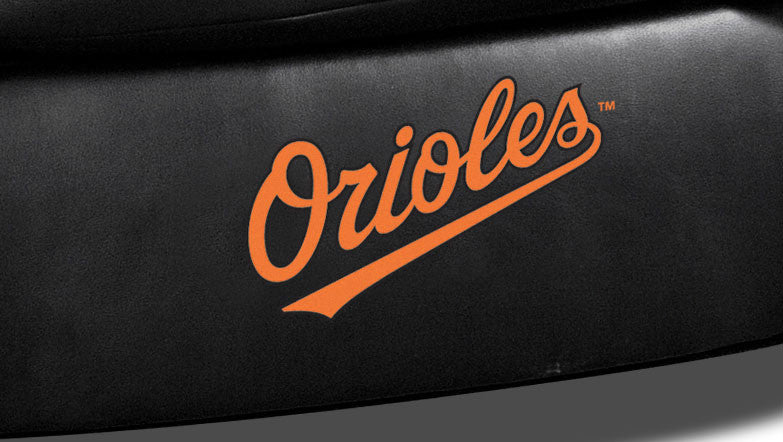 Close Up of Embroidered Logotype | Baltimore Orioles Classic Black Leather Sofa