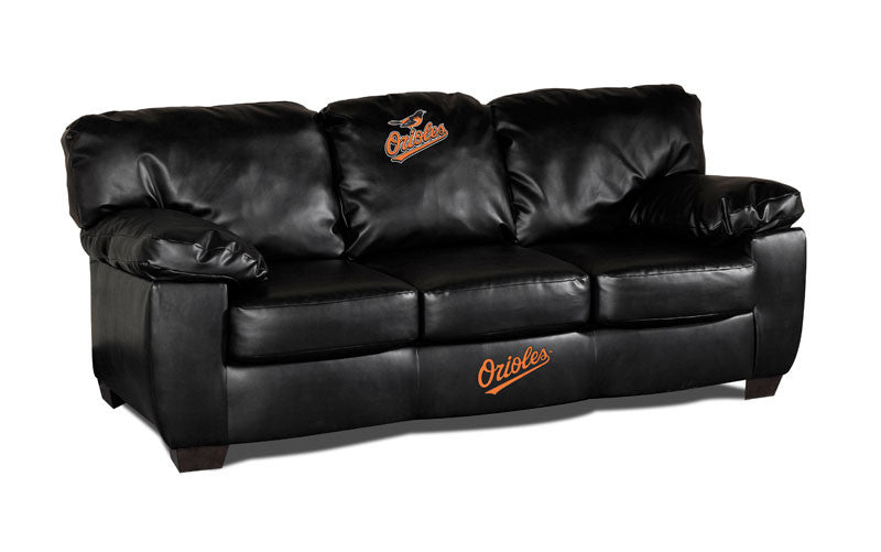 Baltimore Orioles Classic Black Leather Sofa | Man Cave Authority | IMP 65-2014