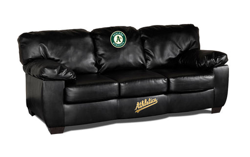 Oakland Athletics Classic Black Leather Sofa | Man Cave Authority | IMP 65-2018