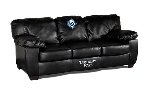 Tampa Bay Devil Rays Classic Black Leather Sofa | Man Cave Authority | IMP 65-2019