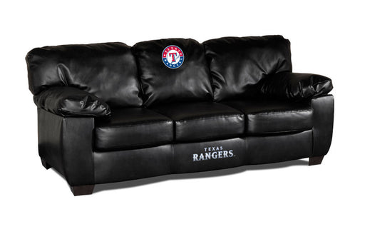 Texas Rangers Classic Black Leather Sofa | Man Cave Authority | IMP 65-2020