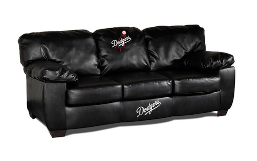 Los Angeles Dodgers Classic Black Leather Sofa | Man Cave Authority | IMP 65-2026
