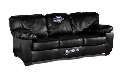 Milwaukee Brewers Classic Black Leather Sofa | Man Cave Authority | IMP 65-2027