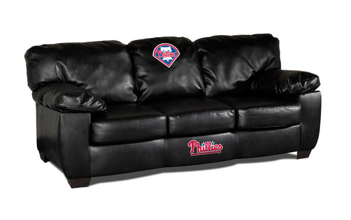 Philadelphia Phillies Classic Black Leather Sofa | Man Cave Authority | IMP 65-2029