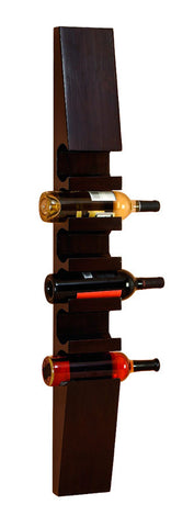 Stoic Dark Wood Wall Mounted Wine Rack