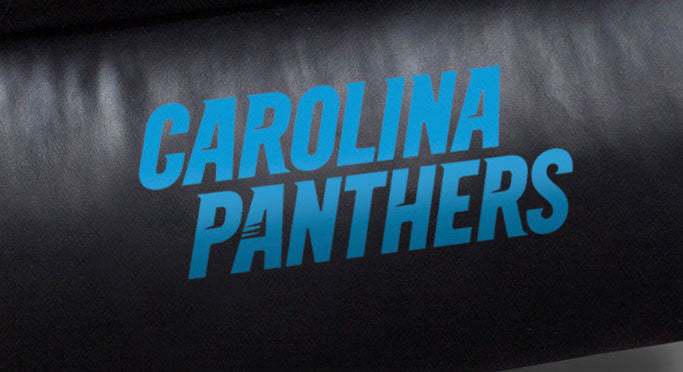 Close Up of Embroidered Logotype | Carolina Panthers Big Daddy Leather Recliner