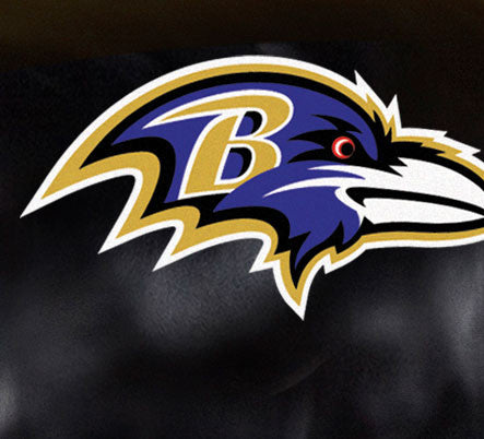 Close Up of Embroidered Logo | Baltimore Ravens Big Daddy Leather Recliner